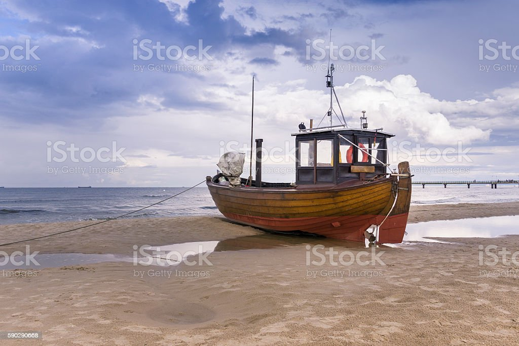 Germany, Usedom Island, Ahlbeck, fishing boat on beach stock photo