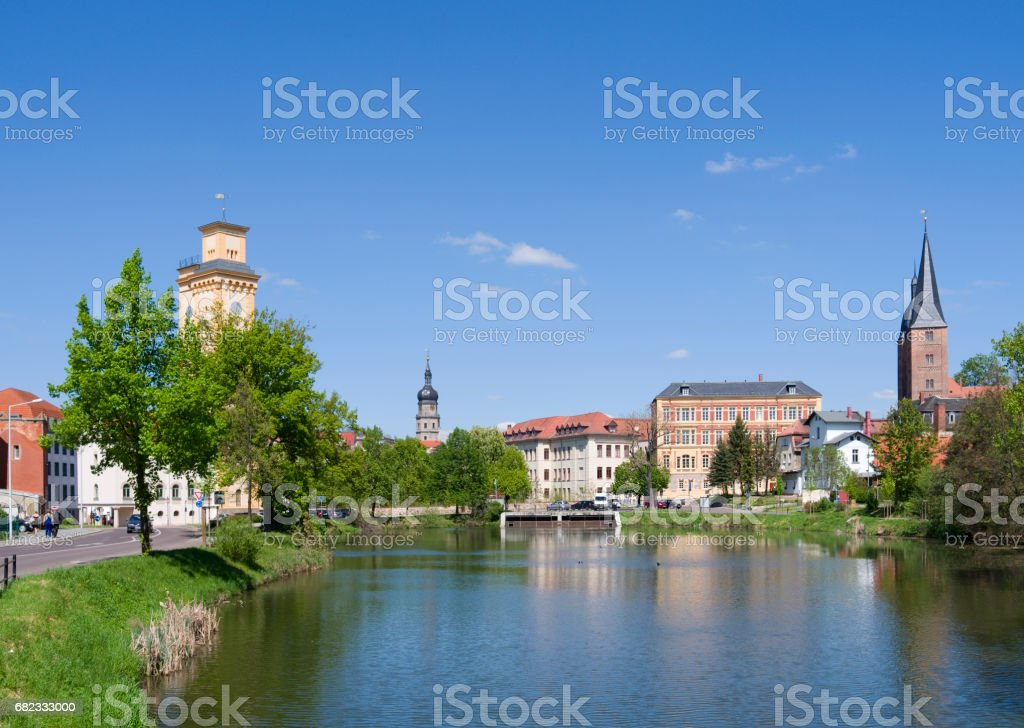 "Germany: View over the ""Little Pond"" in Altenburg stock photo"