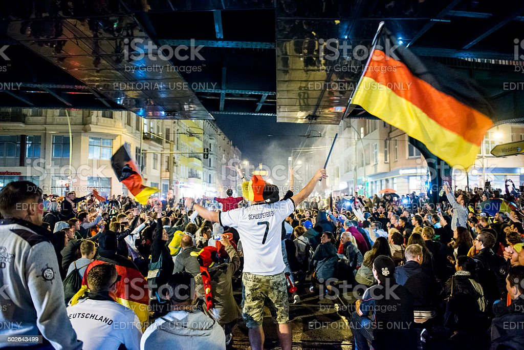 Germany wins the soccer world cup and celebrates stock photo