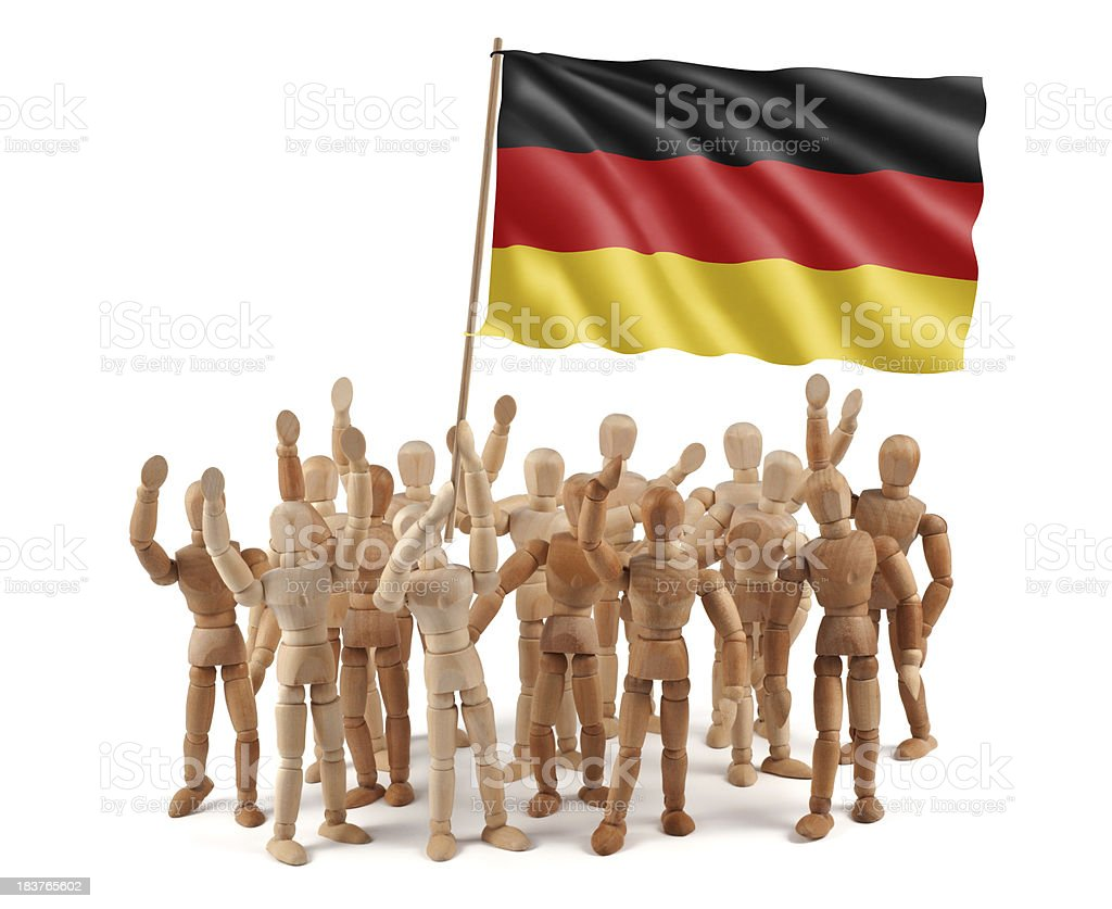 Germany - wooden mannequin group with flag royalty-free stock photo