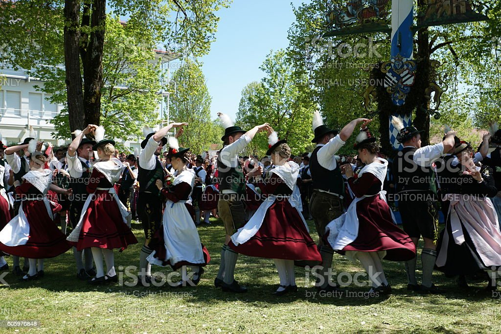 Germany-Bavaria. Customs and tradition. Dance into May, the Münchner Francaise. stock photo