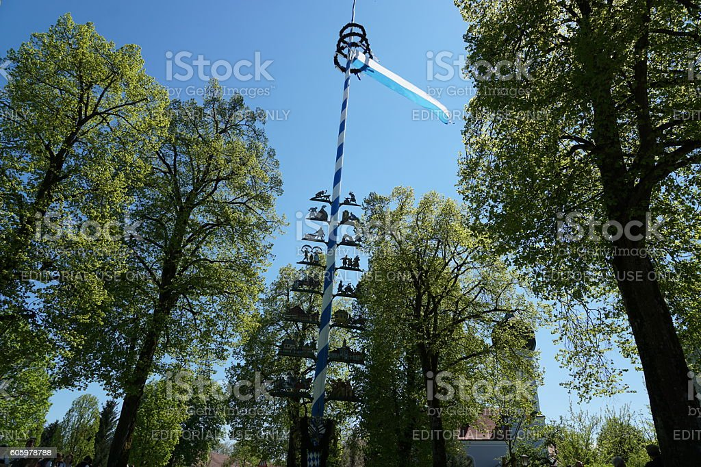 Germany-Bavaria. Customs and tradition. Dancing around the Maypole. stock photo