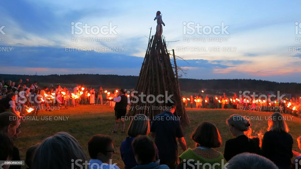Germany-Bavaria. Customs and tradition. Johanis fire at Saint John's Eve stock photo