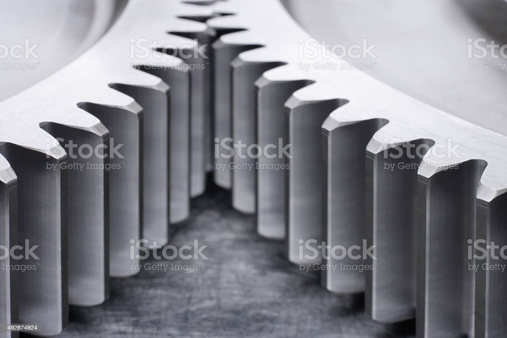 Germany,Close up of part of two precision cog wheels stock photo