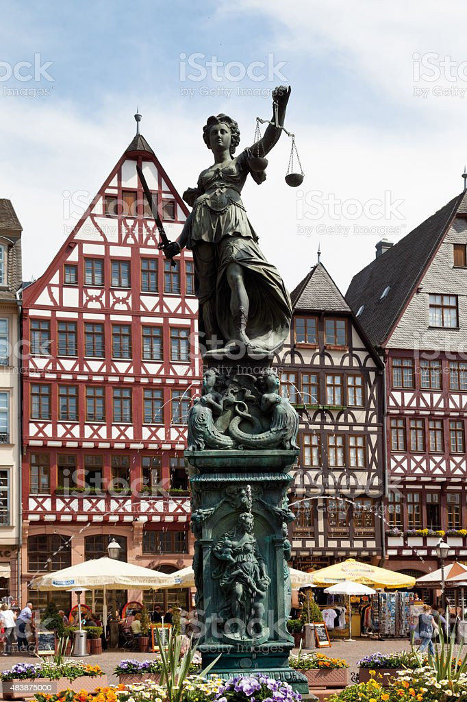 Germany,Hesse,Frankfurt,Roemerberg,View of Lady Justice statue a stock photo