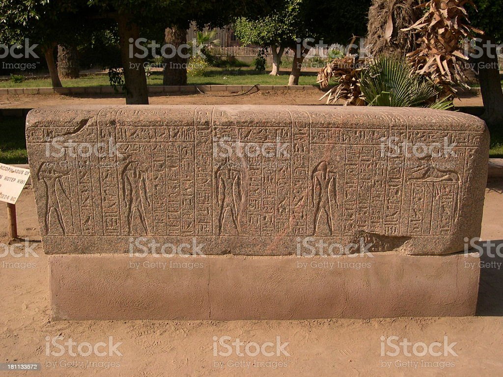 Geroglific on stone royalty-free stock photo