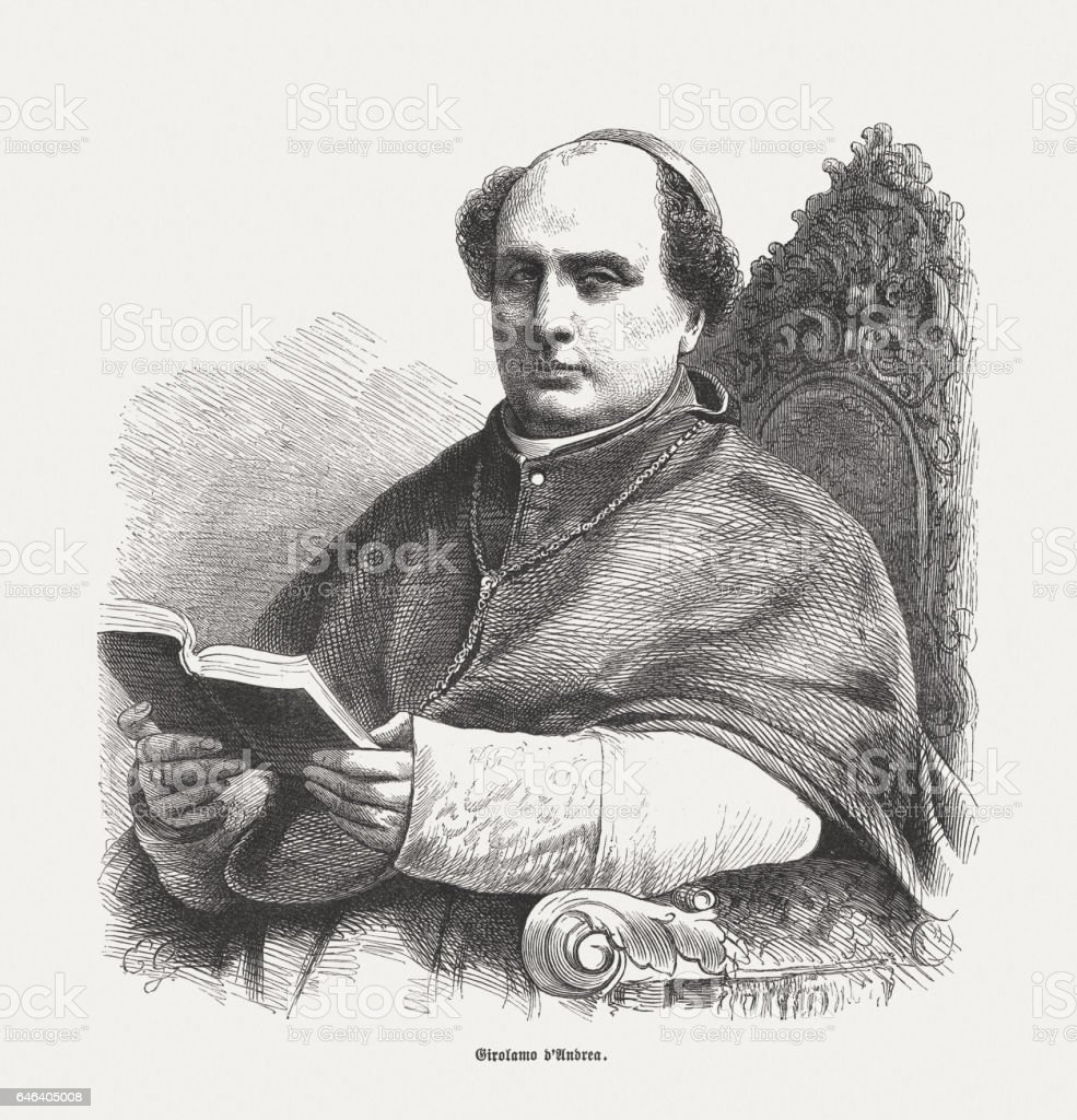 Gerolamo Marquese d'Andrea (1812-1868), Italian Cardinal, wood engraving, published 1865 stock photo