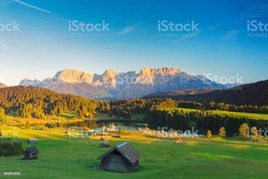 Geroldsee at sunset, Garmisch Patenkirchen, Alps stock photo