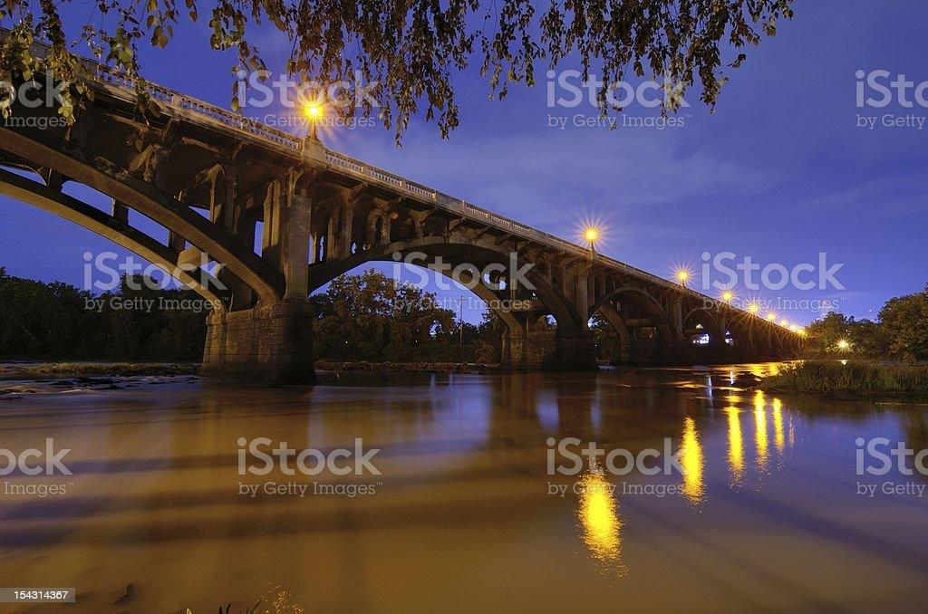 Gervais street bridge illuminated by street lights stock photo