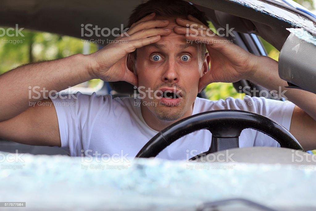 geschockter Autofahrer stock photo