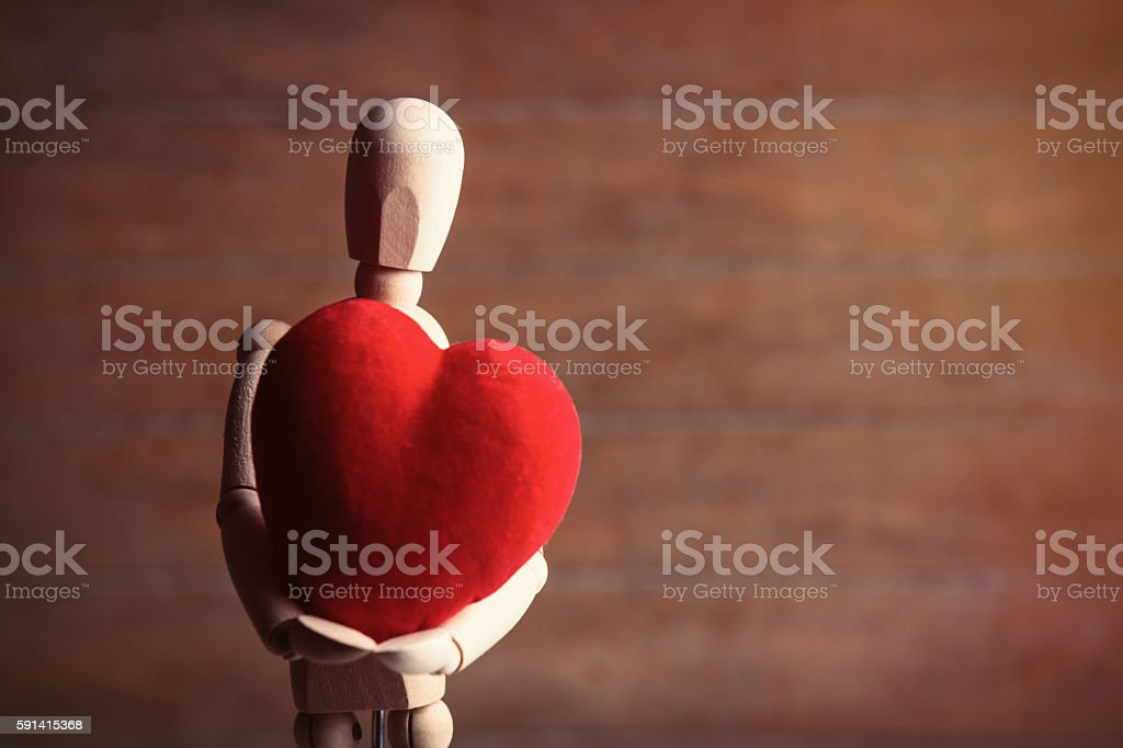 gestalta with heart-shaped toy stock photo
