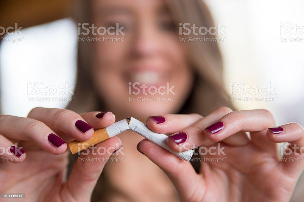 gesture for quit smoking, Anti Smoking stock photo