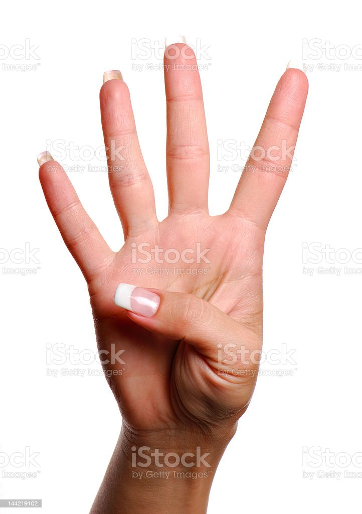 Gesture number four royalty-free stock photo