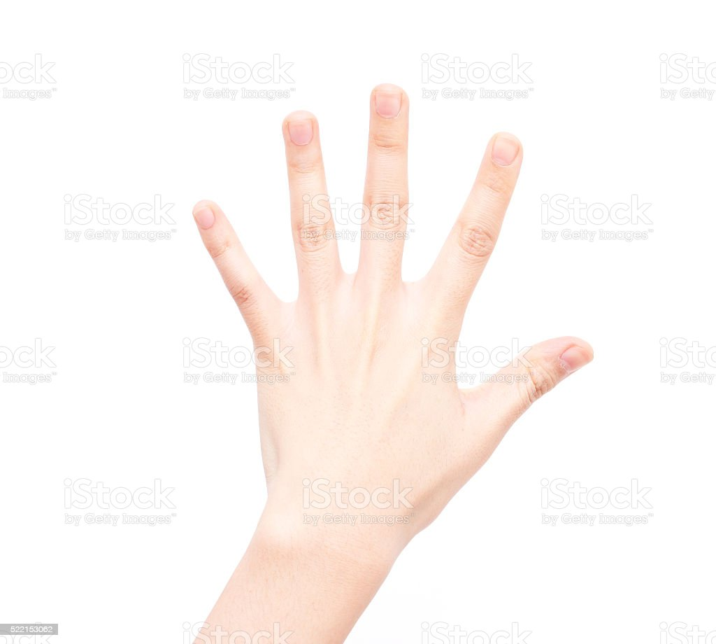 Gesture symbols: Number Five stock photo