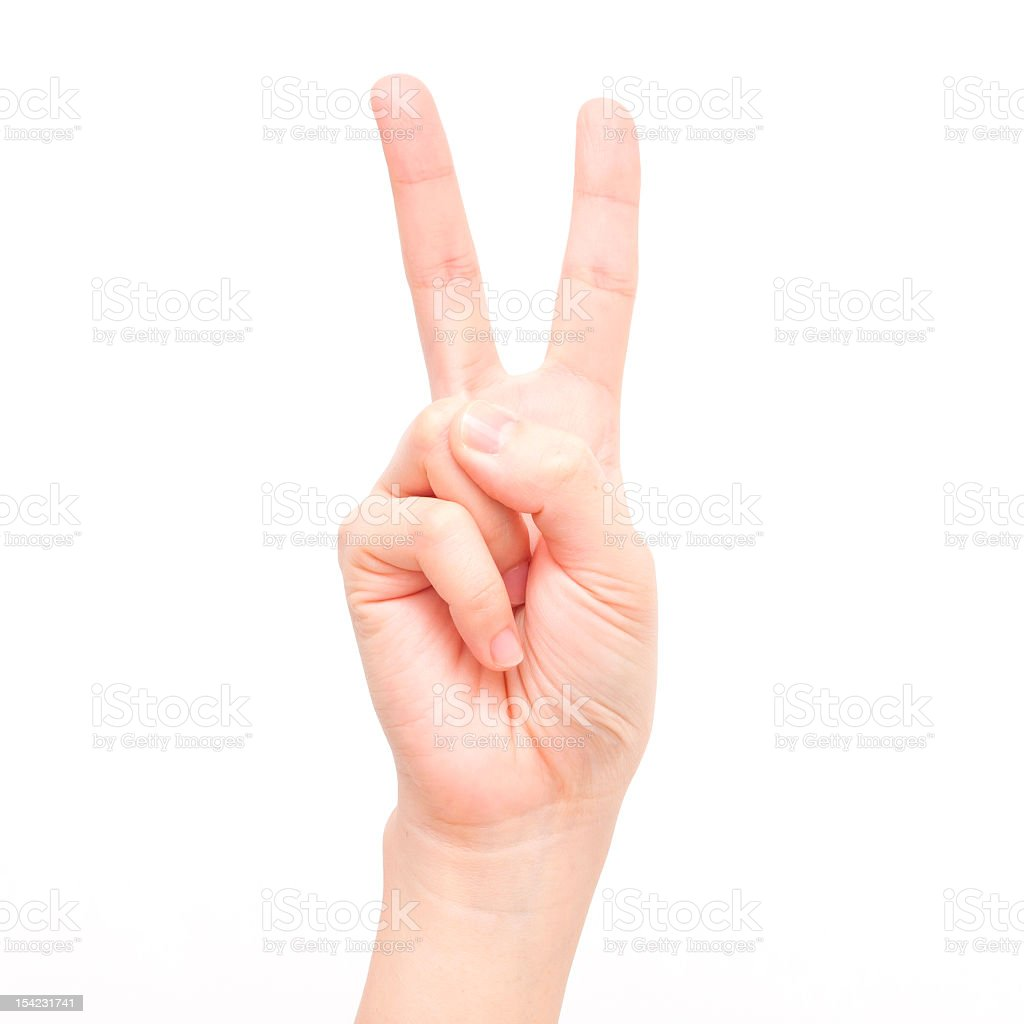 Gesture symbols: Number Two royalty-free stock photo