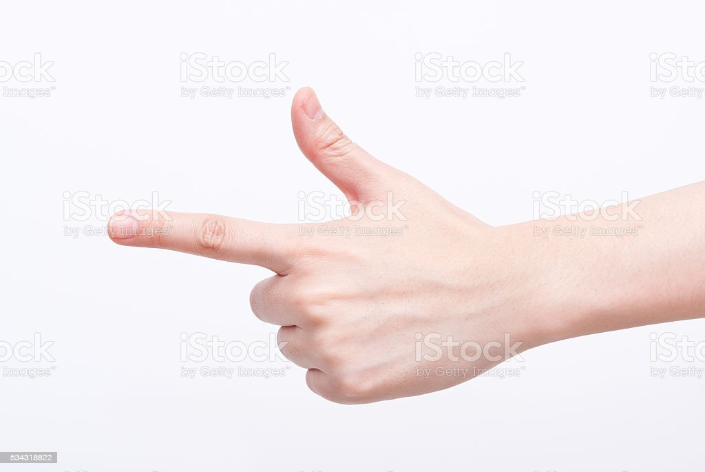 Gesture Symbols: Pistol or pointing to the left stock photo