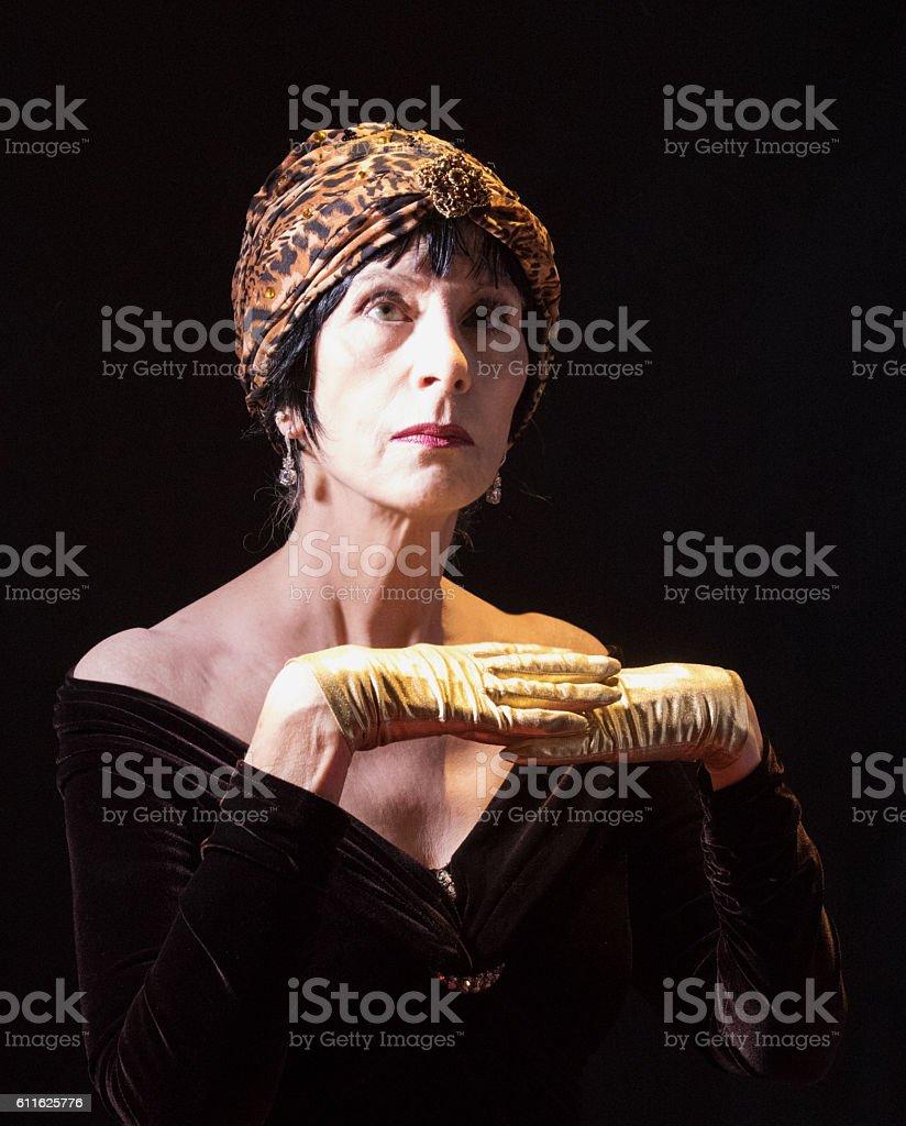 Gesturing Female Adult Senior stock photo