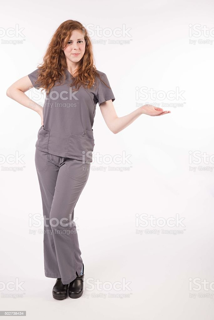 Gesturing nurse stock photo