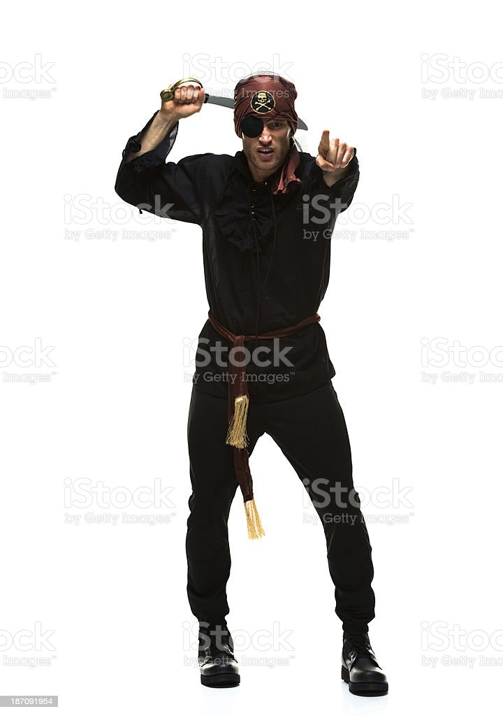 Gesturing pirate in a white background royalty-free stock photo