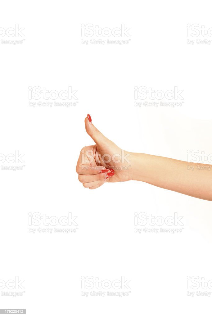 Gesturing woman hand ok isolated on white royalty-free stock photo