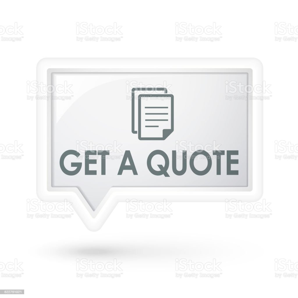 get a quote document icon over speech bubble stock photo get a quote document icon over speech bubble royalty stock photo