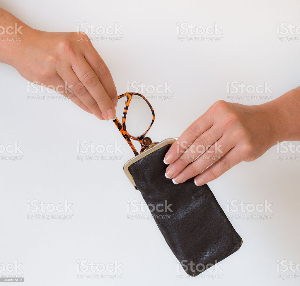get her glasses stock photo