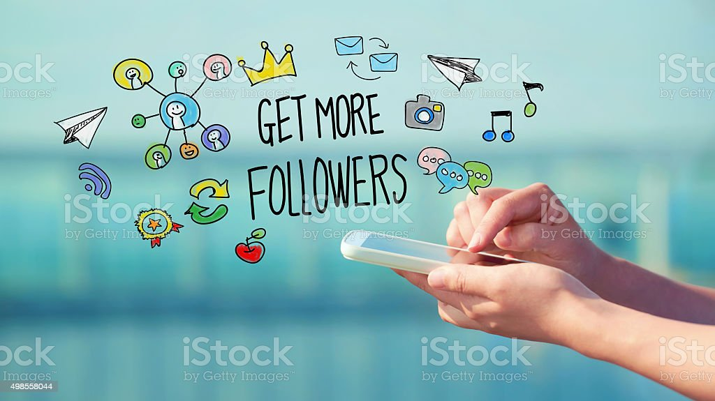 Get More Followers concept with smartphone stock photo