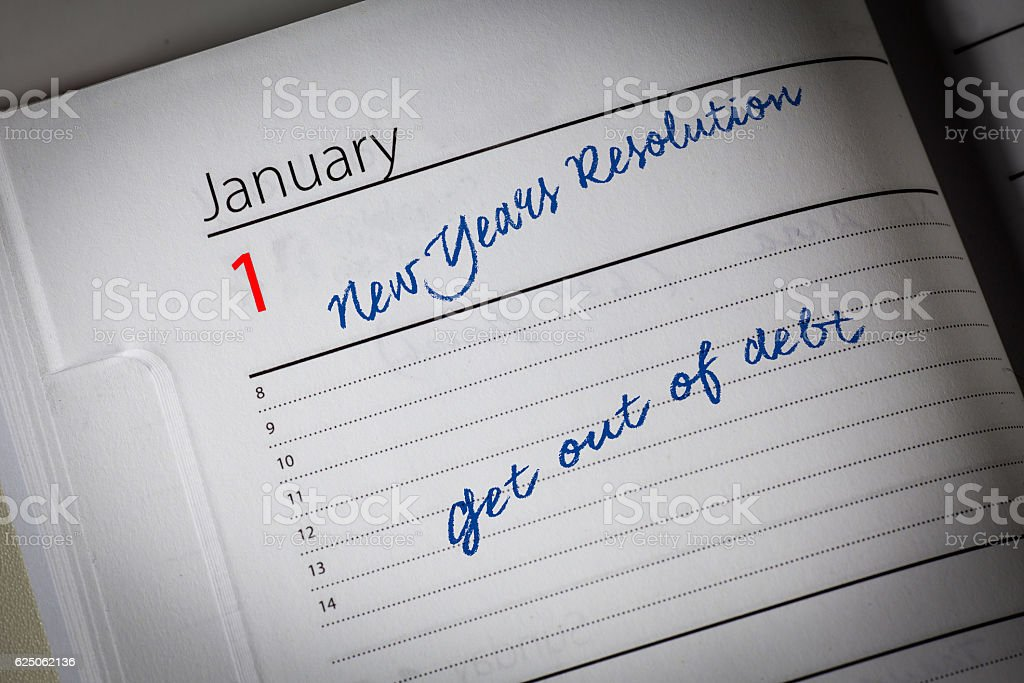 Get out of debt Diary Resolution stock photo