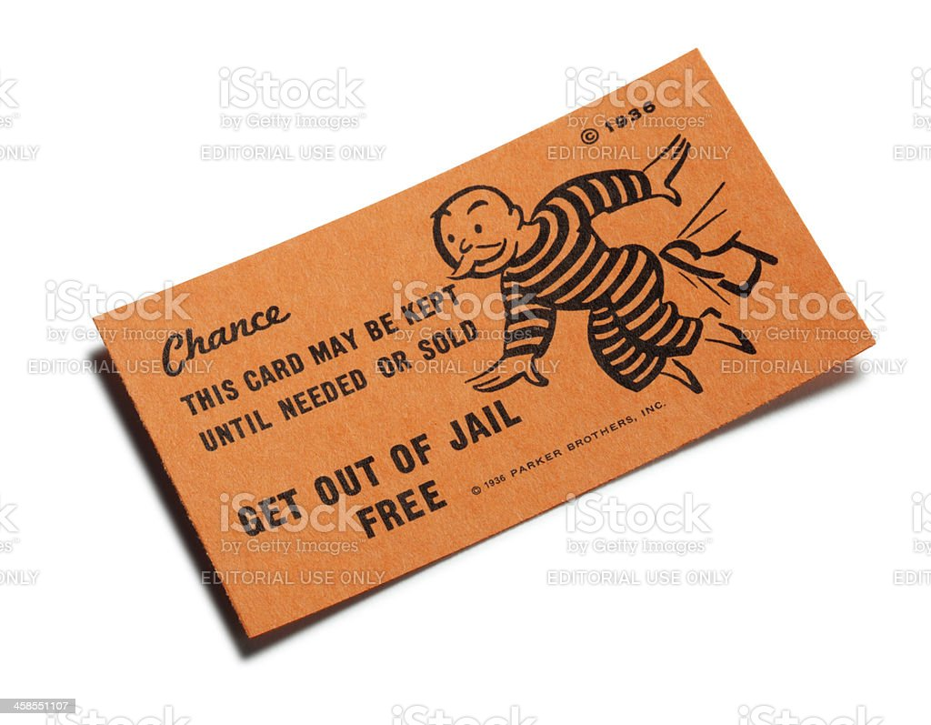 Get Out Of Jail Free Card stock photo