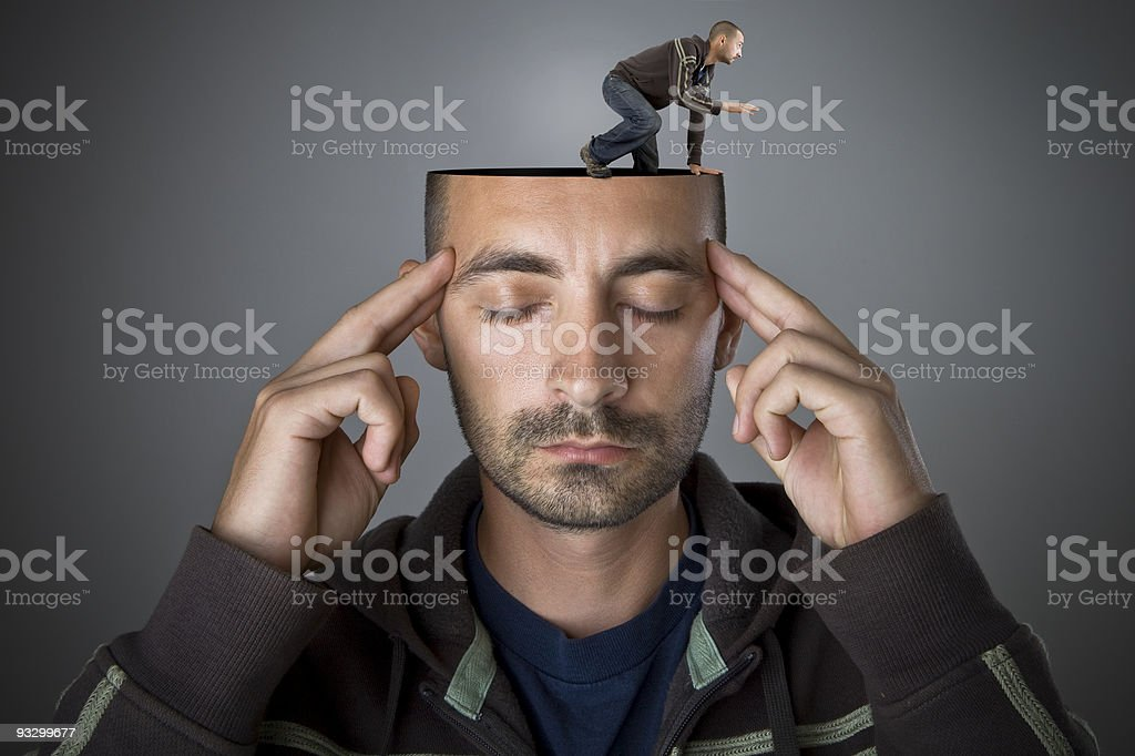 Get out of your head stock photo