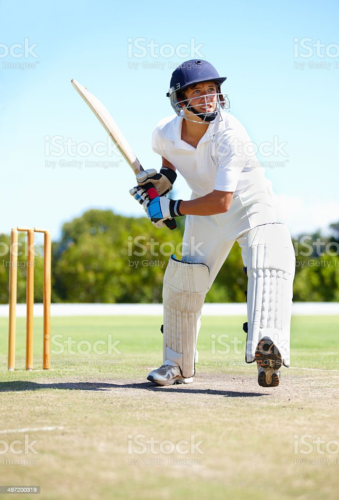 Get ready for six more runs stock photo