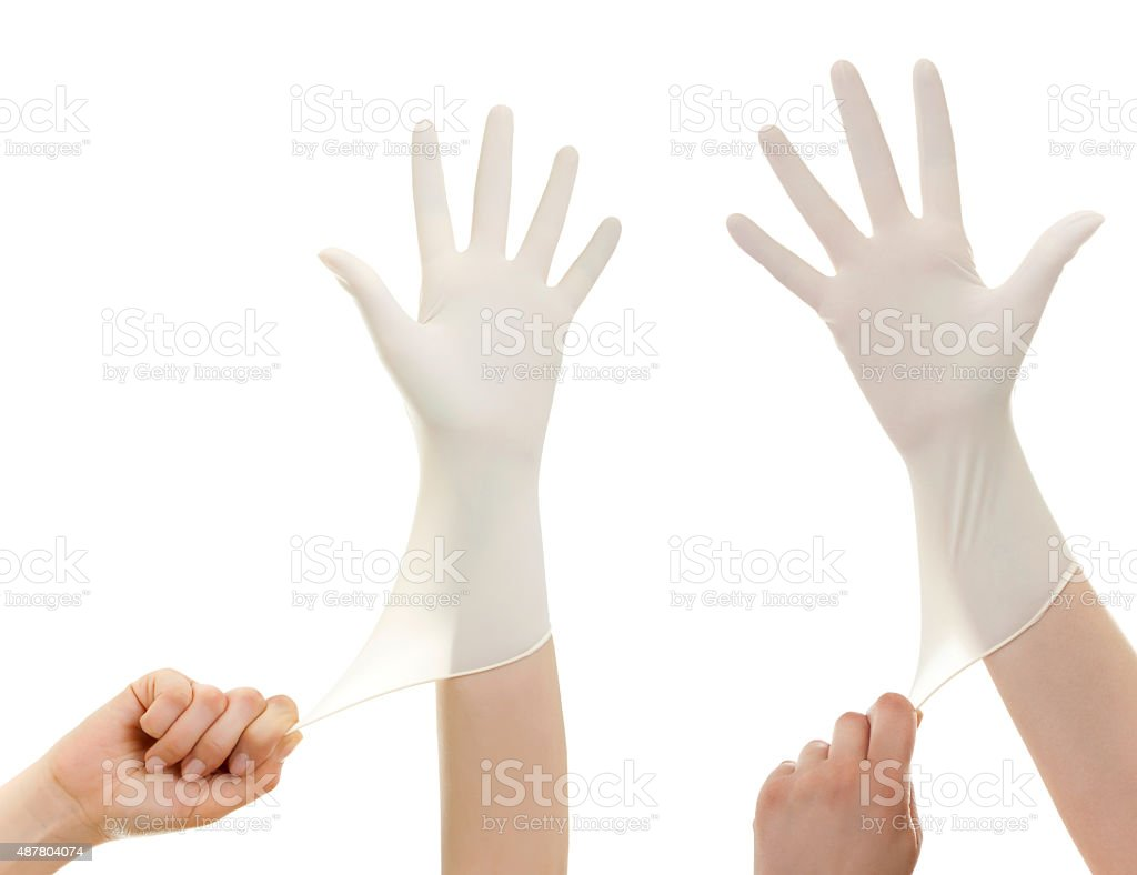 Get ready for treatment doctors hand in white hygienic glove stock photo