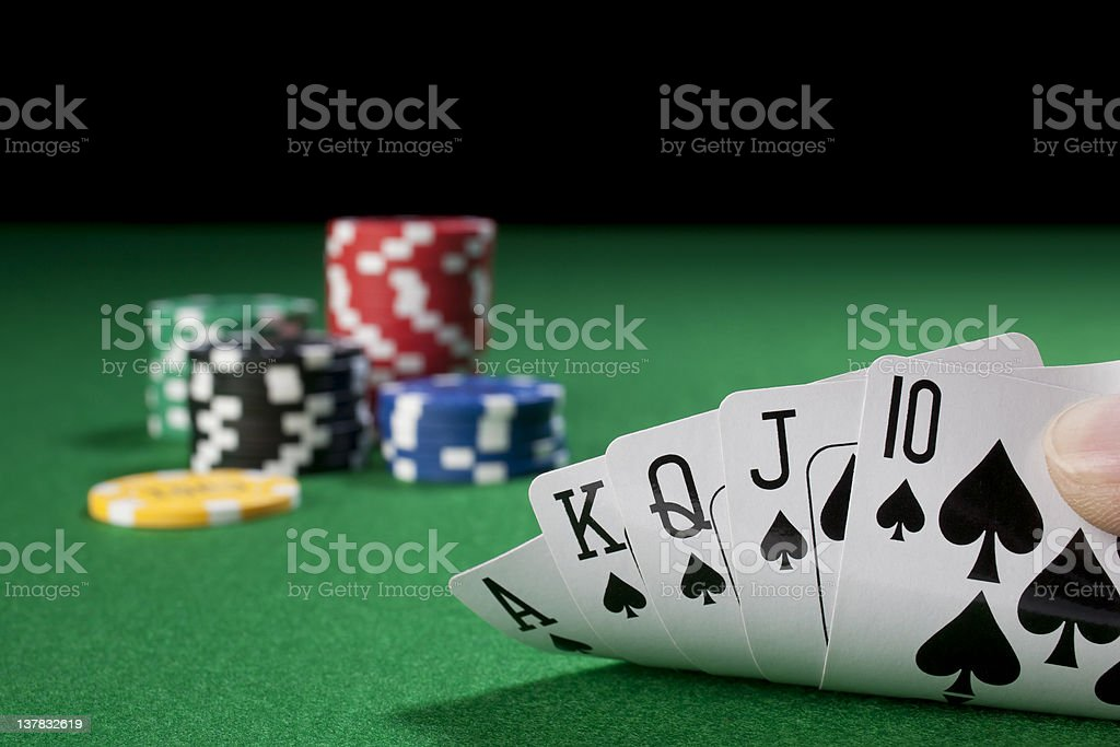 get royal flush to wining chips stock photo