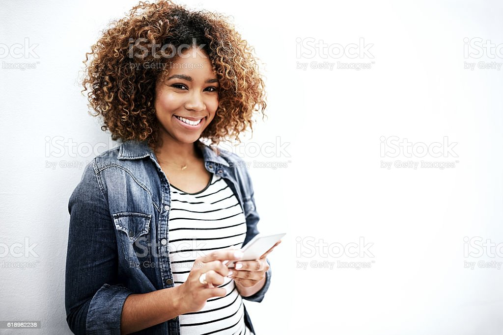 Get stuff done with your phone! stock photo
