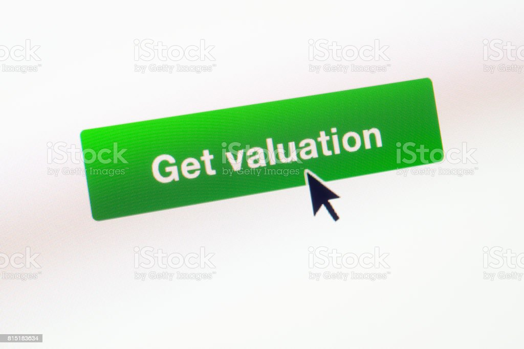 Get Valuation web button on webpage stock photo