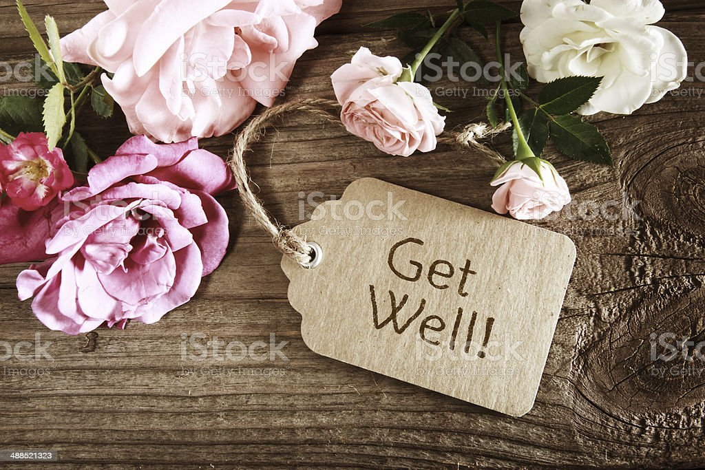 Get well message with roses stock photo