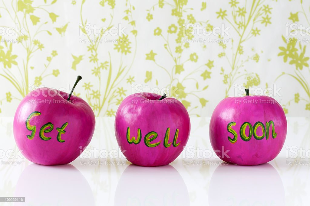 Get well soon card with handpainted apples royalty-free stock photo