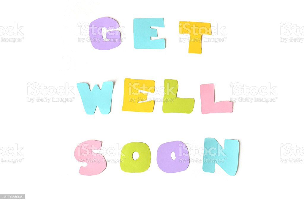 Get well soon text on white background stock photo