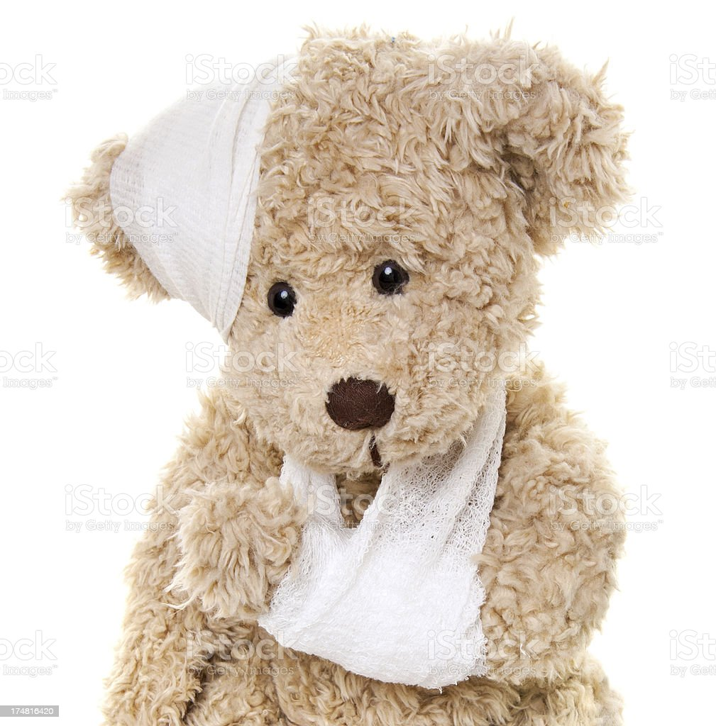 Get Well - Suffering Injured Sweet Teddy Bear royalty-free stock photo