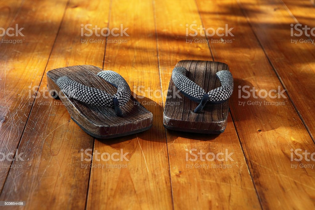 Geta Sandals on Wooden Surface, Tokyo, Japan stock photo