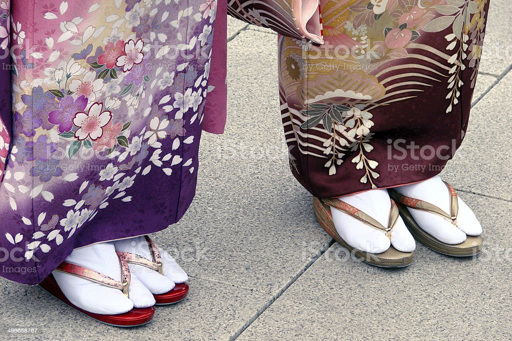 Getas on japanese women feet stock photo