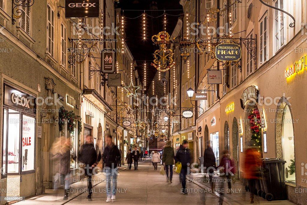Getreidegasse in Salzburg at Christmas stock photo