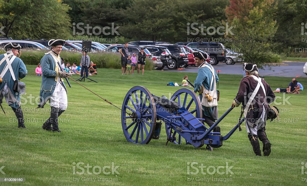 Getting a cannon into position stock photo