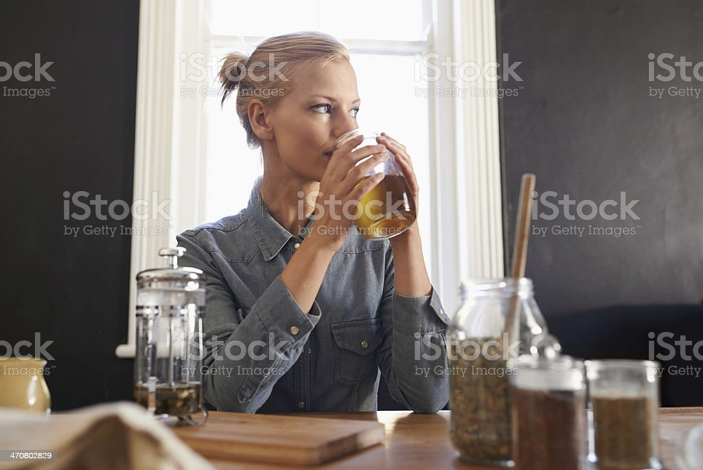 Getting a drink of morning tea stock photo