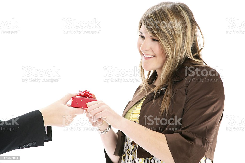 getting a gift royalty-free stock photo