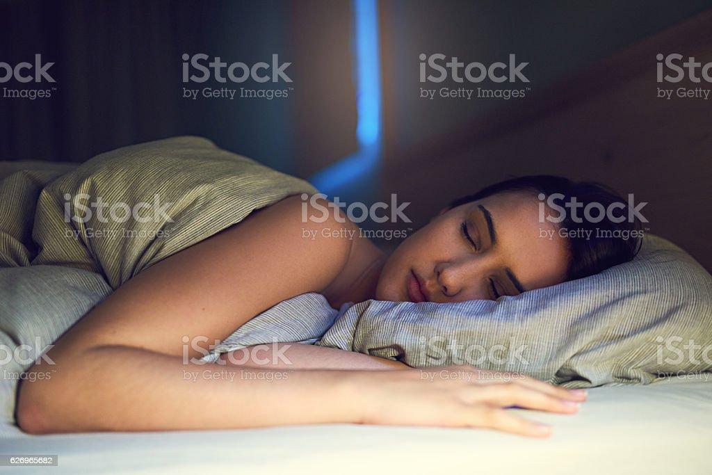 Getting a good night's sleep stock photo