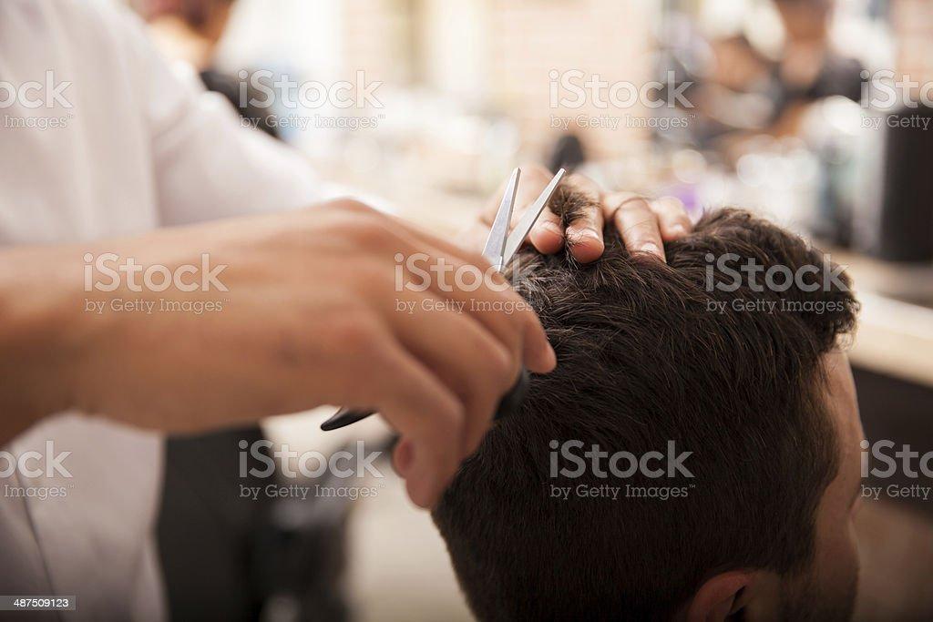 Getting a haircut stock photo