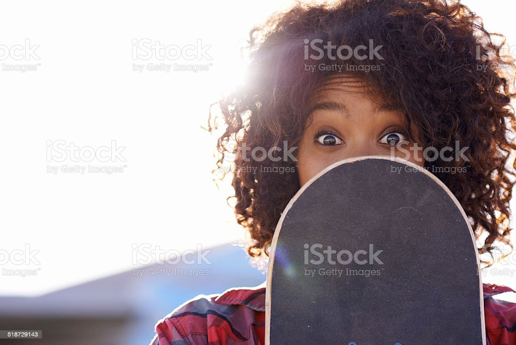 Getting a little crazy in the skatepark stock photo
