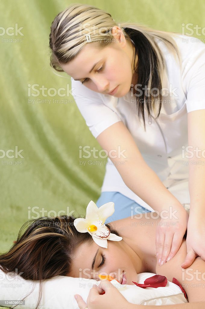 getting a massage royalty-free stock photo