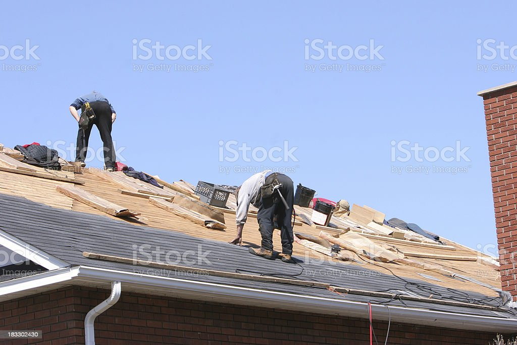 Getting a new roof. stock photo